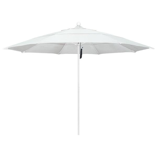 """Natural Fabric California Umbrella ALTO 118 SUNBRELLA 1A Venture 11' Round Pulley Lift Umbrella with 1 1/2"""" Matte White Aluminum Pole - Sunbrella 1A Canopy"""