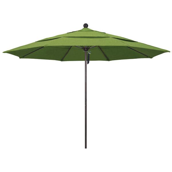 """Spectrum Cilantro Fabric California Umbrella ALTO 118 SUNBRELLA 1A Venture 11' Round Pulley Lift Umbrella with 1 1/2"""" Bronze Aluminum Pole - Sunbrella 1A Canopy"""