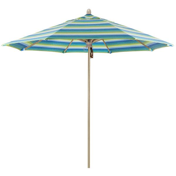 "Seville Seaside Fabric California Umbrella FLEX 908 SUNBRELLA 1A Sierra Customizable 9' Round Pulley Lift Umbrella with 1 1/2"" White Oak Fiberglass Pole - Sunbrella 1A Canopy"
