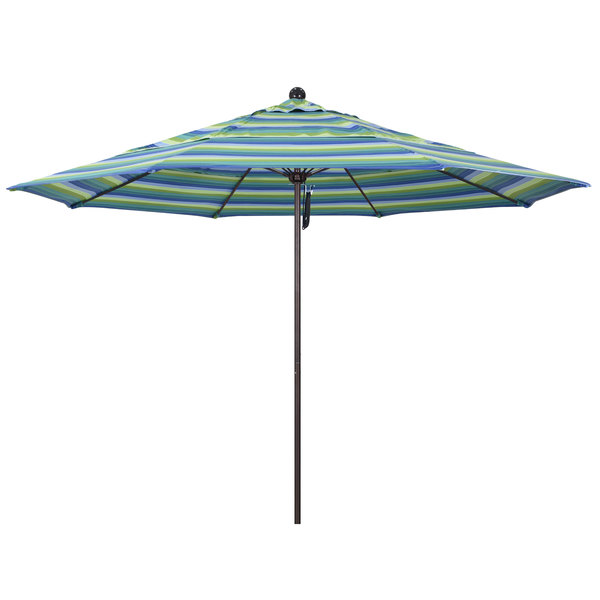 "Seville Seaside Fabric California Umbrella ALTO 118 SUNBRELLA 1A Venture 11' Round Pulley Lift Umbrella with 1 1/2"" Bronze Aluminum Pole - Sunbrella 1A Canopy"