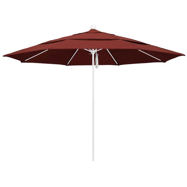 """Henna Fabric California Umbrella ALTO 118 SUNBRELLA 2A Venture 11' Round Pulley Lift Umbrella with 1 1/2"""" Matte White Aluminum Pole - Sunbrella 2A Canopy"""