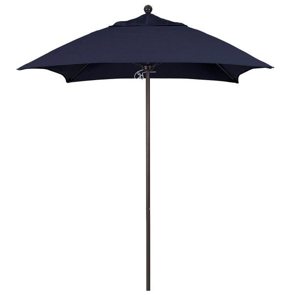 "Navy Fabric California Umbrella ALTO 604 SUNBRELLA 1A Venture Customizable 6' Square Push Lift Umbrella with 1 1/2"" Bronze Aluminum Pole - Sunbrella 1A Canopy"
