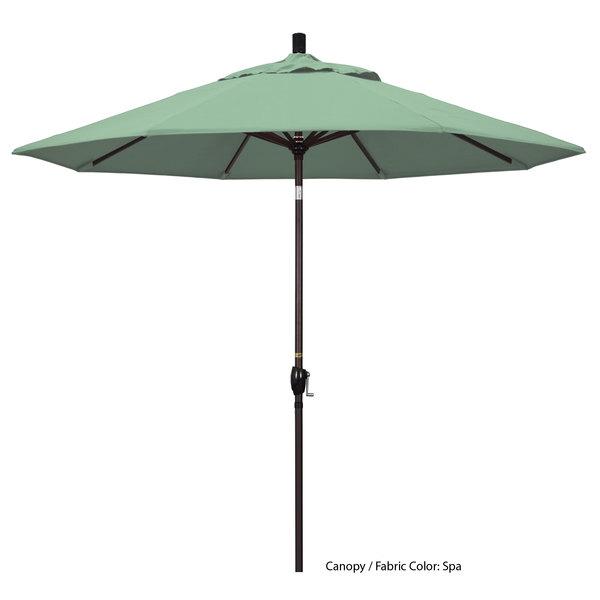 "California Umbrella GSPT 908 PACIFICA Pacific Trail 9' Crank Lift Umbrella with 1 1/2"" Bronze Aluminum Pole Main Image 1"