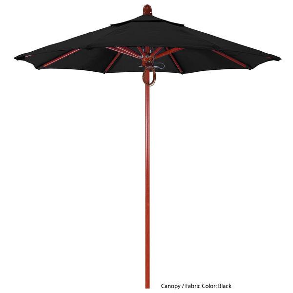 "California Umbrella FLEX 758 PACIFICA Sierra 7 1/2' Round Pulley Lift Umbrella with 1 1/2"" Red Oak Fiberglass Pole - Pacifica Canopy"