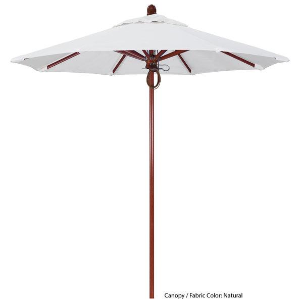 "California Umbrella FLEX 758 SUNBRELLA 1A Sierra Customizable 7 1/2' Round Pulley Lift Umbrella with 1 1/2"" Red Oak Fiberglass Pole - Sunbrella 1A Canopy"