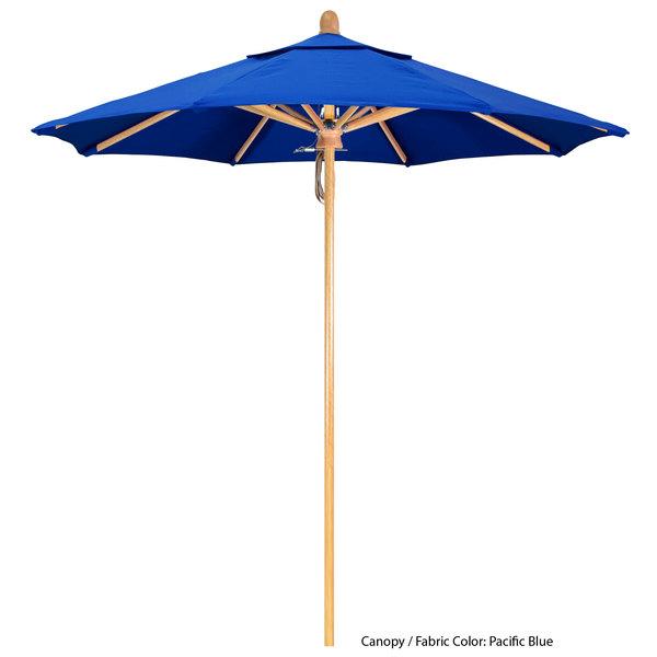 """California Umbrella FLEX 758 PACIFICA Sierra 7 1/2' Round Pulley Lift Umbrella with 1 1/2"""" White Oak Fiberglass Pole - Pacifica Canopy"""