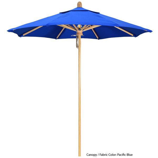 "California Umbrella FLEX 758 SUNBRELLA 1A Sierra Customizable 7 1/2' Round Pulley Lift Umbrella with 1 1/2"" White Oak Fiberglass Pole - Sunbrella 1A Canopy Main Image 1"