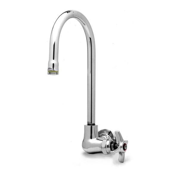 "Hot T&S B-0312 Wall Mounted Single Pantry Faucet with Four Arm Handle - 10 3/8"" High Swivel Gooseneck Nozzle with 5 11/16"" Spread"