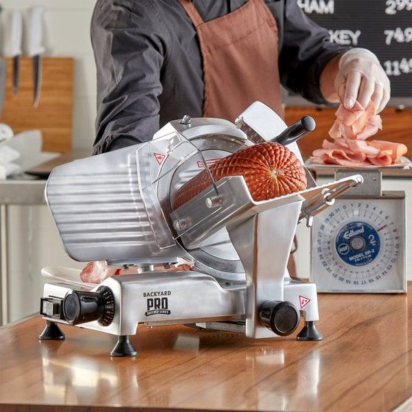 "Backyard Pro SL109E Butcher Series 9"" Manual Gravity Feed Meat Slicer - 120V Main Image 4"