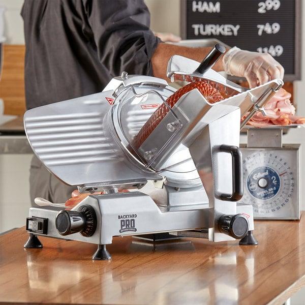 "Backyard Pro SL110E Butcher Series 10"" Manual Gravity Feed Meat Slicer - 120V Main Image 4"