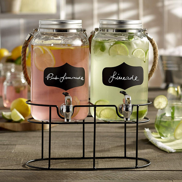 The Jay Companies 210570-GB 3.8 Liter Style Setter Trent Double Rope Handle Glass Beverage Dispenser Set with Blackboard Labels and Black Wire Stand