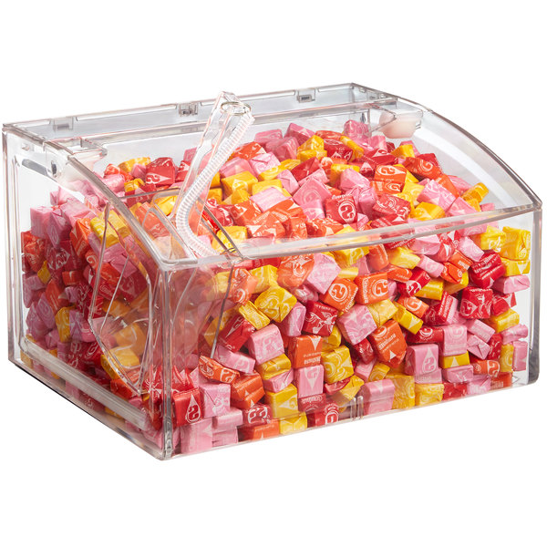 clear plastic bin filled with colorful candy