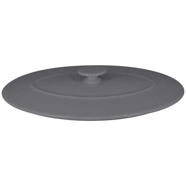 "RAK Porcelain CFOD31GYLD Chef's Fusion 10 1/4"" Stone Gray Oval Porcelain Lid - 3/Case"