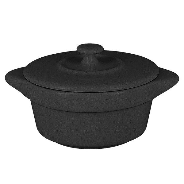 RAK Porcelain CFRD09BK Chef's Fusion 3.8 oz. Volcano Black Porcelain Mini Cocotte with Lid - 12/Case