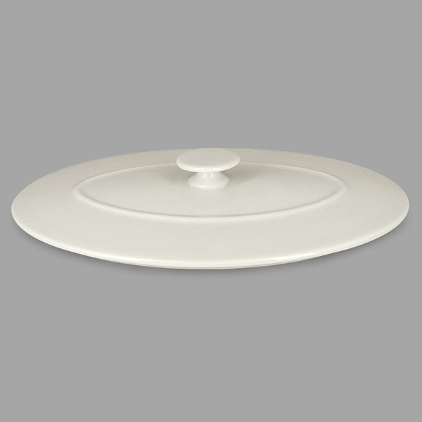 "RAK Porcelain CFOD31WHLD Chef's Fusion 10 1/4"" Sand White Oval Porcelain Lid - 3/Case"
