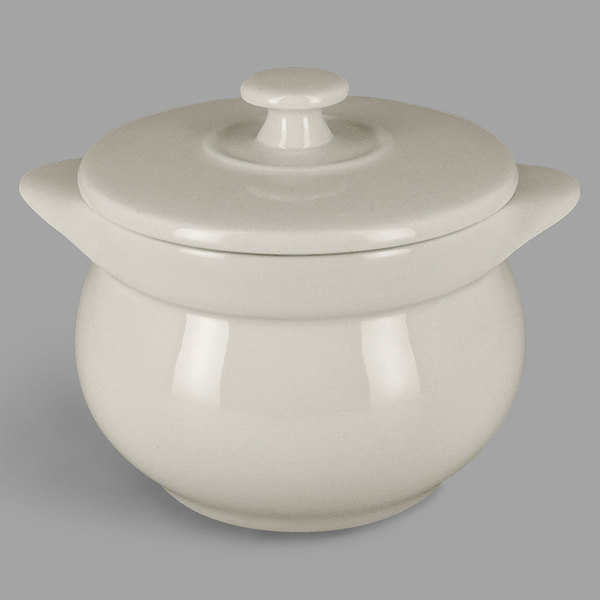 RAK Porcelain CFST10WH Chef's Fusion 15.2 oz. Sand White Round Porcelain Tureen with Lid - 2/Case