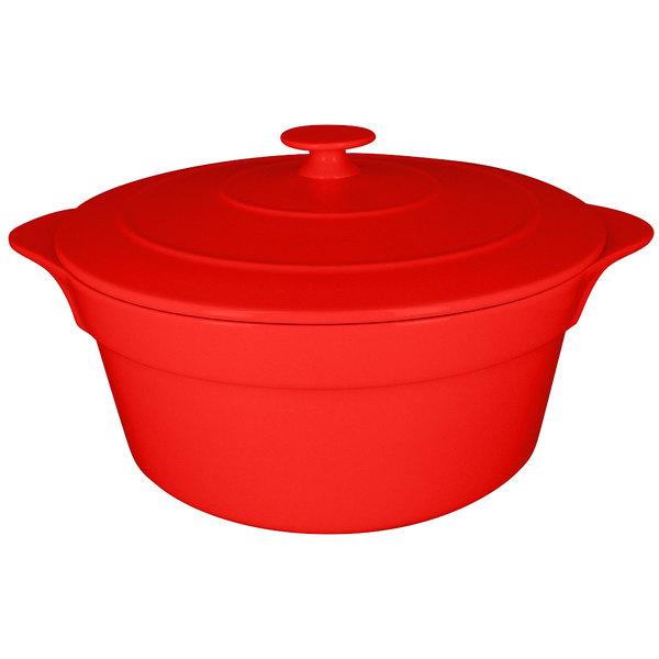 RAK Porcelain CFRD28BR Chef's Fusion 155.6 oz. Ember Red Round Porcelain Cocotte with Lid