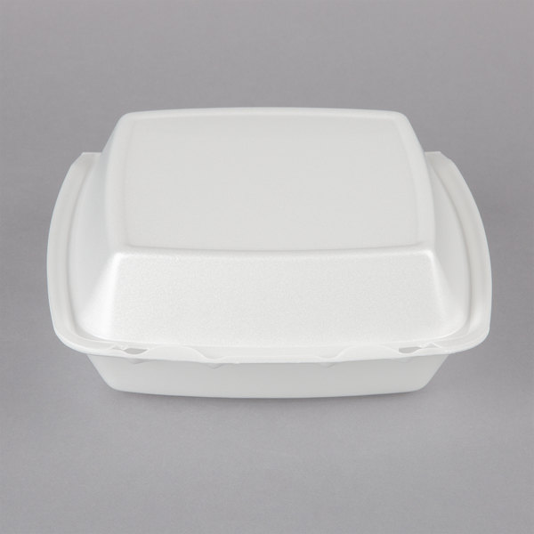 Dart 85HT1R 8 inch x 8 inch x 3 inch White Foam Square Take Out Container with Perforated Hinged Lid - 200/Case