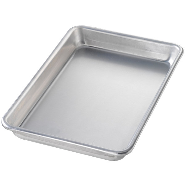 "Chicago Metallic 41800 Eighth Size 16 Gauge Aluminum Customizable Sheet Pan - Curled Rim, No Wire, 6 1/2"" x 9 1/2"""