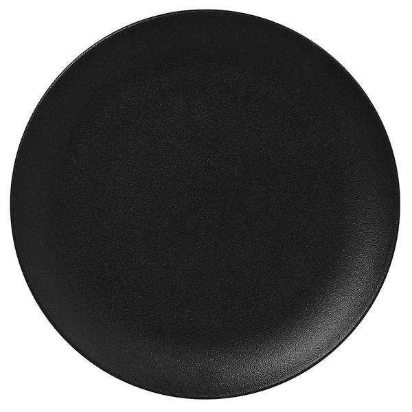 "RAK Porcelain NFNNPR29BK Neo Fusion 11 3/8"" Volcano Black Porcelain Flat Coupe Plate - 12/Case"