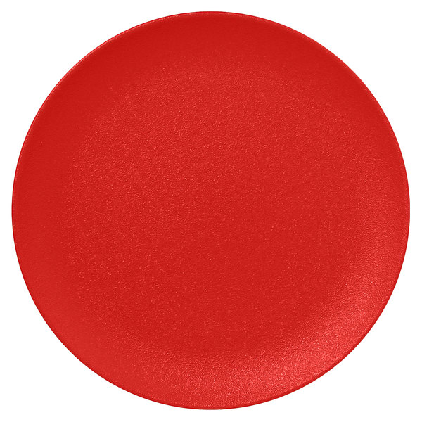 "RAK Porcelain NFNNPR21BR Neo Fusion 8 1/4"" Ember Red Porcelain Flat Coupe Plate - 12/Case"