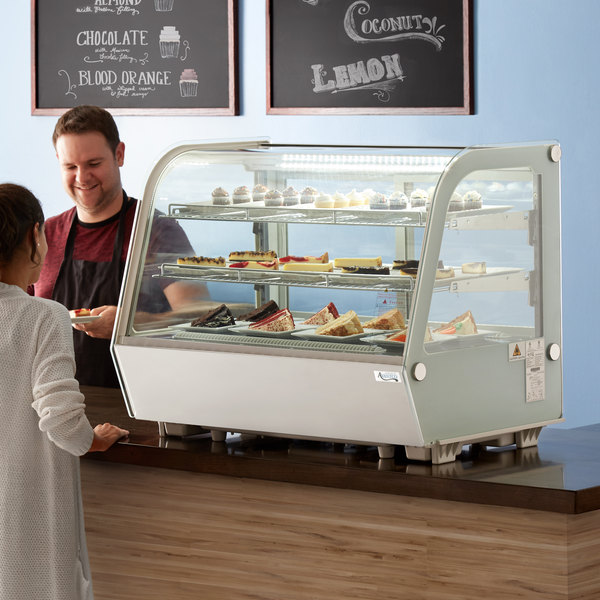 """Avantco BCC-35-HC 34 1/2"""" White Refrigerated Countertop Bakery Display Case with LED Lighting"""