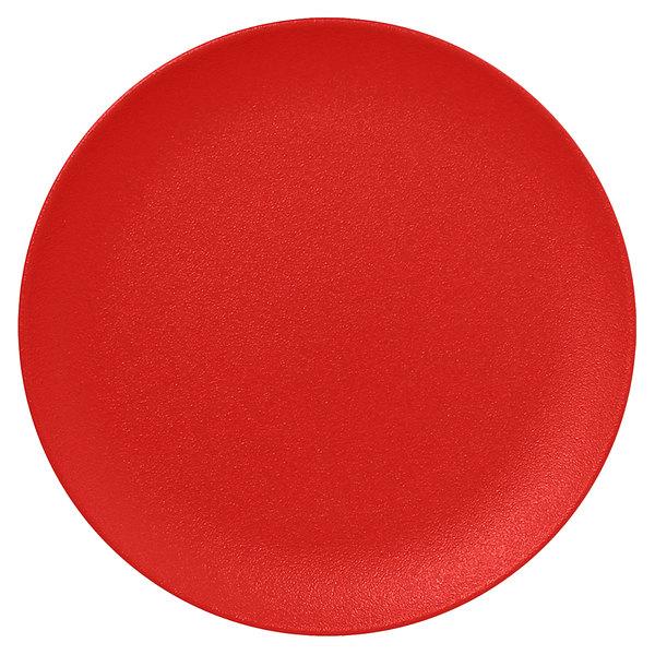 "RAK Porcelain NFNNPR31BR Neo Fusion 12 3/16"" Ember Red Porcelain Flat Coupe Plate - 6/Case"