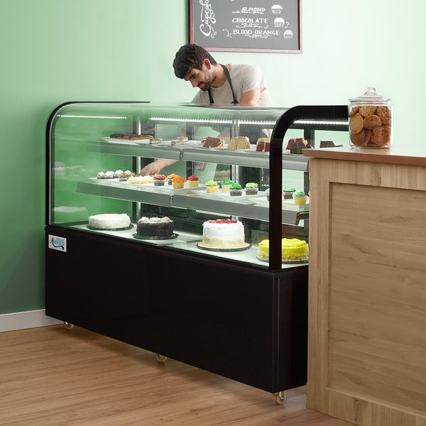 """Avantco BC-72-HC 72"""" Curved Glass Black Refrigerated Bakery Display Case Main Image 6"""