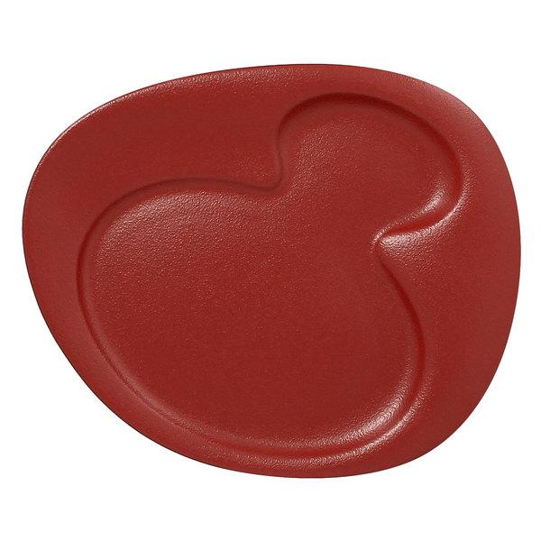 "RAK Porcelain NFNBFP24DR Neo Fusion 9 7/16"" Magma Dark Red 2-Basin Porcelain Plate - 12/Case"