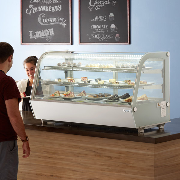 "Avantco BCC-48-HC 48"" White Refrigerated Countertop Bakery Display Case with LED Lighting"