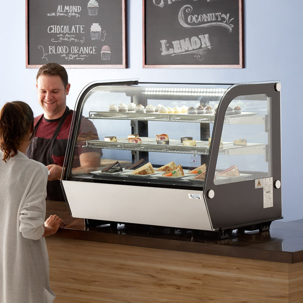 """Avantco BCC-35-HC 34 1/2"""" Black Refrigerated Countertop Bakery Display Case with LED Lighting"""