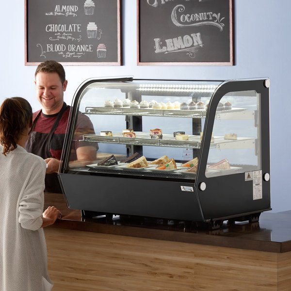 """Avantco BCC-35-HC 34 1/2"""" Black Refrigerated Countertop Bakery Display Case with LED Lighting Main Image 6"""
