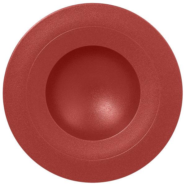 "RAK Porcelain NFGDDP29DR Neo Fusion 11 3/8"" Magma Dark Red Porcelain Deep Plate - 6/Case"
