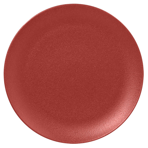 "RAK Porcelain NFNNPR29DR Neo Fusion 11 3/8"" Magma Dark Red Porcelain Flat Coupe Plate - 12/Case"