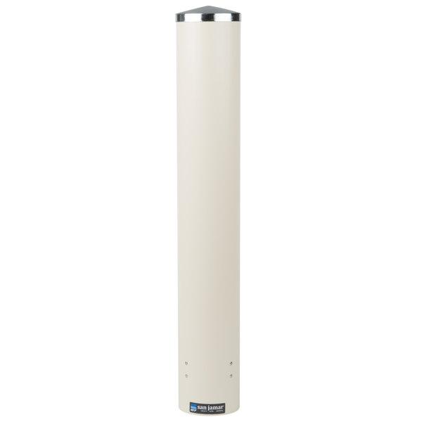 San Jamar C4210PFSD Pull-Type Sand White Wall Mount 4 - 10 oz. Foam Cup Dispenser Main Image 1