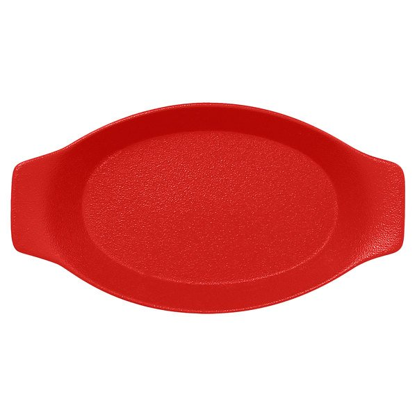 """RAK Porcelain NFOPOD30BR Neo Fusion 11 13/16"""" x 6 5/16"""" Ember Red Porcelain Oval Dish with Handles - 6/Case Main Image 1"""