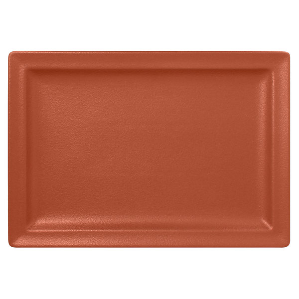 "RAK Porcelain NFCLRP33BW Neo Fusion 13"" x 9 1/16"" Terra Brown Porcelain Rectangular Flat Plate - 6/Case"