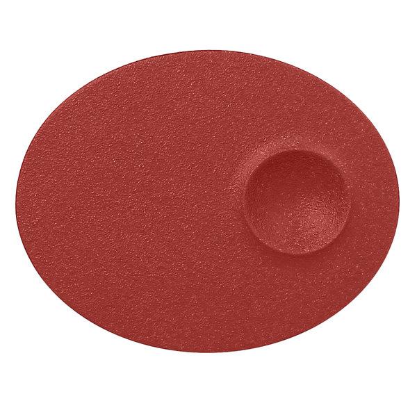 "RAK Porcelain NFMROP18DR Neo Fusion 7 1/8"" Magma Dark Red Porcelain Oval Plate - 12/Case"