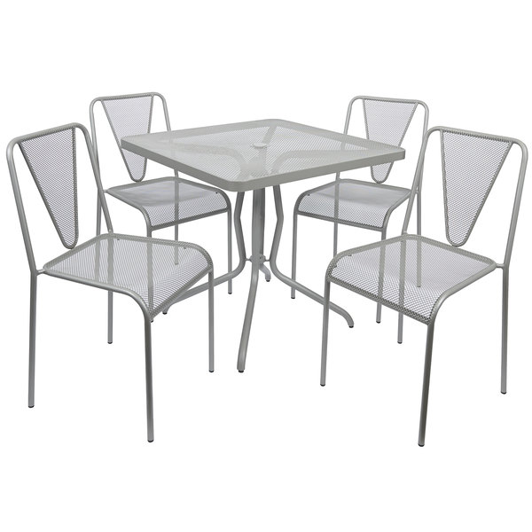 """BFM Seating YQ-TS32S Nexus 32"""" Square Titanium Silver E-Coated Steel Outdoor Dining Height Table Set Main Image 1"""