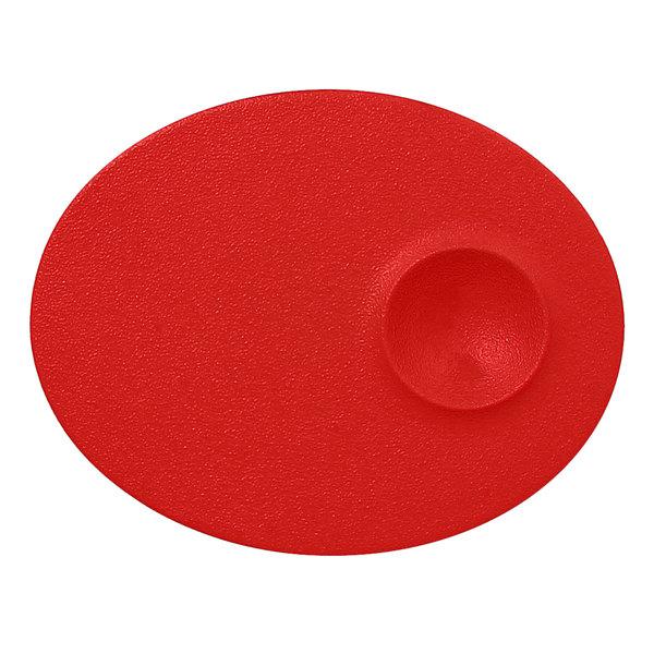 """RAK Porcelain NFMROP18BR Neo Fusion 7 1/8"""" Ember Red Porcelain Oval Plate - 12/Case"""
