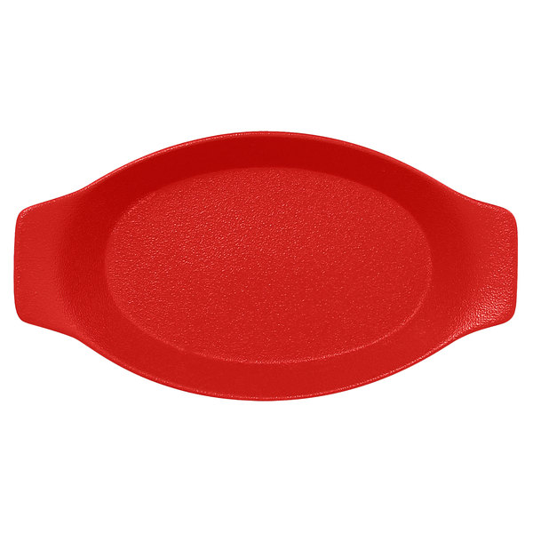 "RAK Porcelain NFOPOD20BR Neo Fusion 7 7/8"" x 4 5/16"" Ember Red Porcelain Oval Dish with Handles - 12/Case Main Image 1"