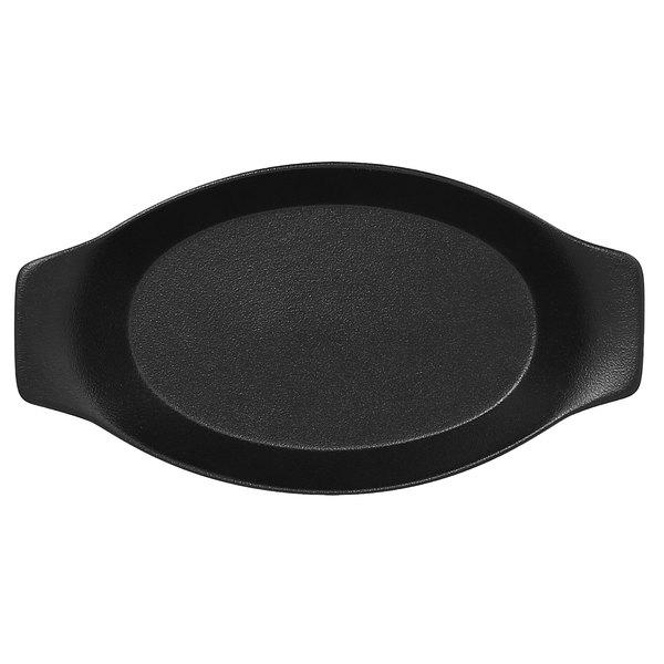 "RAK Porcelain NFOPOD25BK Neo Fusion 9 7/8"" x 5 1/2"" Volcano Black Porcelain Oval Dish with Handles - 24/Case"