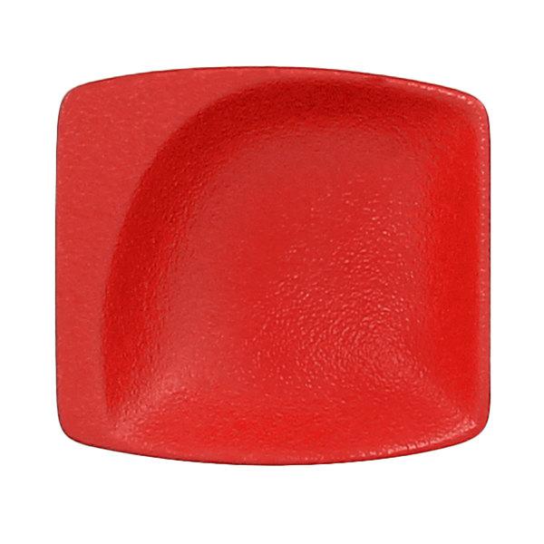 "RAK Porcelain NFMZMS08BR Neo Fusion 3 1/8"" x 2 15/16"" Ember Red Porcelain Mini Square Dish - 6/Case"