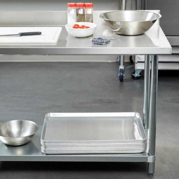 "Regency 30"" x 72"" 18-Gauge 304 Stainless Steel Commercial Work Table with 4"" Backsplash and Galvanized Undershelf Main Image 2"