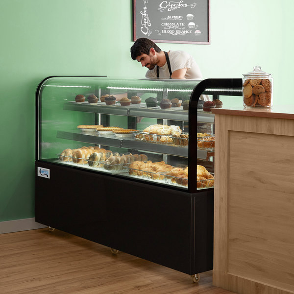 """Avantco BCD-72 72"""" Curved Glass Black Dry Bakery Display Case Main Image 6"""