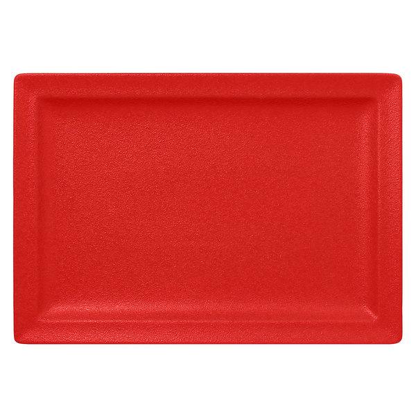 "RAK Porcelain NFCLRP33BR Neo Fusion 13"" x 9 1/16"" Ember Red Porcelain Rectangular Flat Plate - 6/Case"