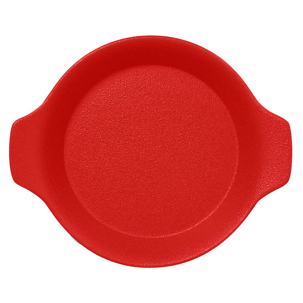 """RAK Porcelain NFOPRD16BR Neo Fusion 8 7/16"""" x 7 1/8"""" Ember Red Porcelain Dish with Handles - 12/Case"""