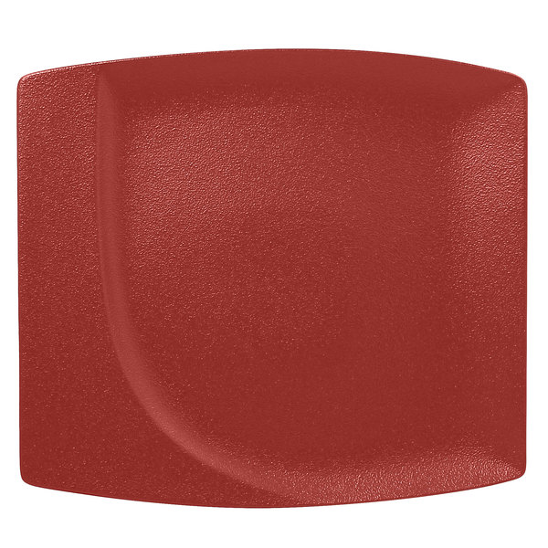 "RAK Porcelain NFMZSP32DR Neo Fusion 12 9/16"" Magma Dark Red Porcelain Square Flat Plate - 6/Case"