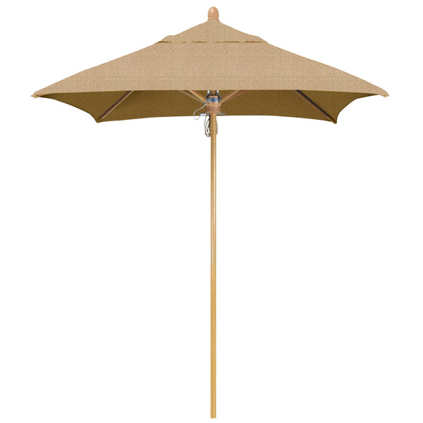 "California Umbrella FLEX 604 SUNBRELLA 2A Sierra 6' Square Pulley Lift Umbrella with 1 1/2"" White Oak Fiberglass Pole - Sunbrella 2A Canopy"