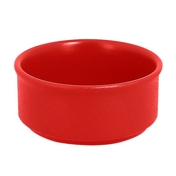 RAK Porcelain NFBABR02BR Neo Fusion 3.4 oz. Ember Red Stackable Porcelain Ramekin - 12/Case